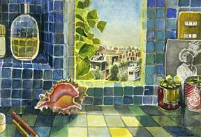 Painting of a blue tiled room with a window overlooking a city
