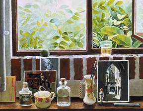 A painting of photographs, bottles, and cups on a brick windowsill overlooking verdant foliage