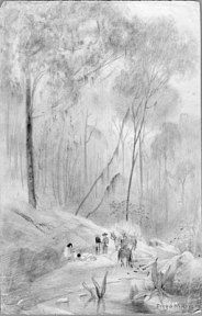 Pencil drawing of a family with donkeys resting in a forest