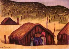 A watercolor of a peasant family standing in front of the hut they live in. There are two more huts visible.