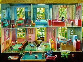 Painting of several rooms in a dollhouse with pink and blue walls