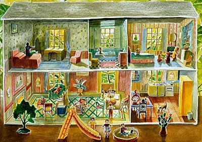 Tin Dollhouse With Slide Mary Anne Martin Fine Art
