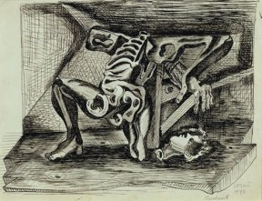 Surrealist pen and ink sketch of a headless skeleton