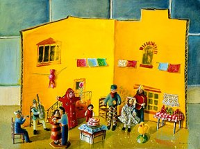 Painting of a yellow pop up paper courtyard with dolls set up for a wedding