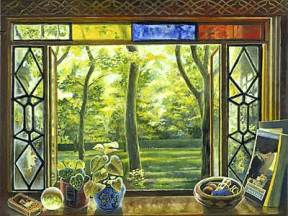 Painting of a stained glass window overlooking a vibrant green garden with trees