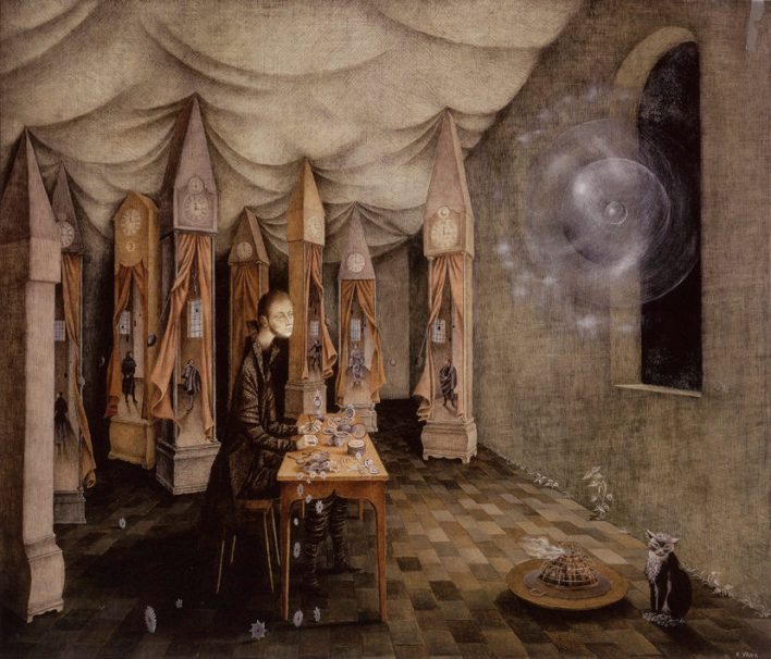 A surrealist painting of a man seated at a table in the middle of a room making clocks. He is surrounded by grandfather clocks, and a cat sits on the floor.