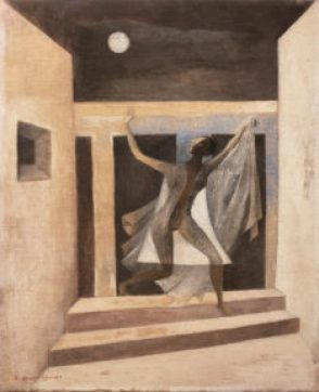 A painting of a figure running down a couple of steps underneath a full moon
