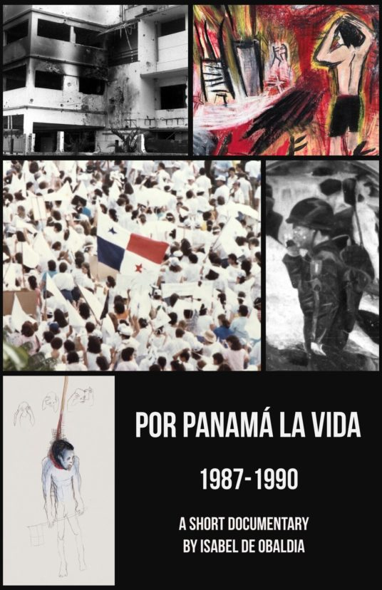 A poster for a short film about the dictatorship of general Noriega in Panama showing a montage of photos and drawings