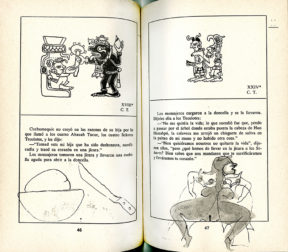 Two page spread of a book with text, Mayan glyphs, and original sketches by Francisco Toledo
