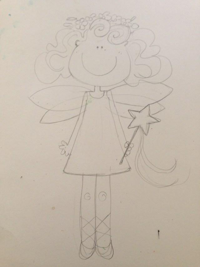 Tras horas en Pinterest, y dudar entre si dibujar a Cristina de princesa decidí convertirla para sus 3 años en un hada.