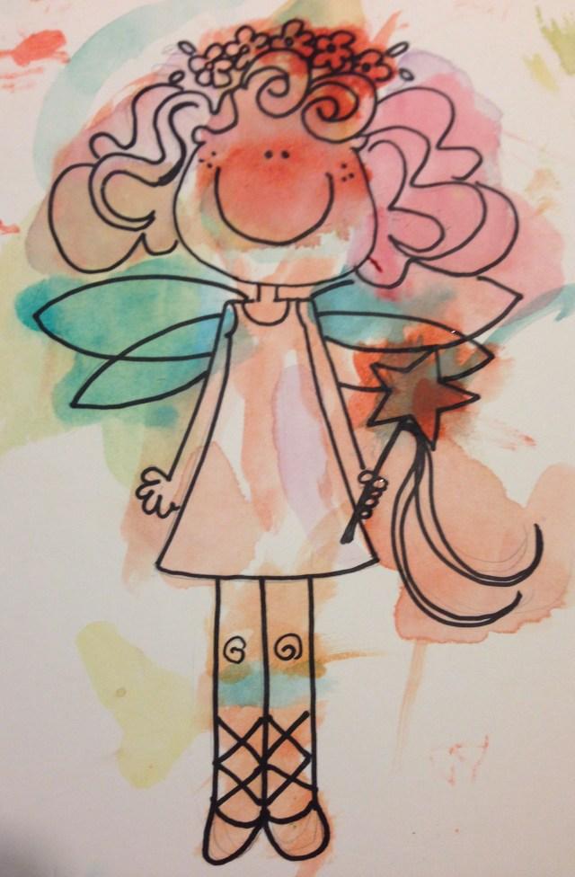 Dibujo mío de Cristina, coloreado por ella misma.