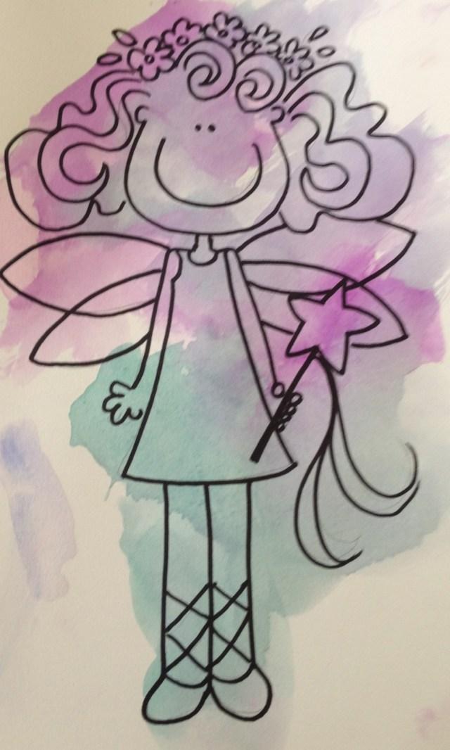 Segunda versión del dibujo de Cristina coloreado por ella misma.