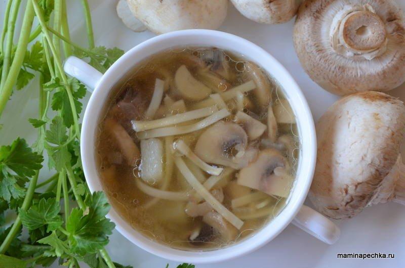 Лапша с луком и грибами - рецепт пошаговый с фото