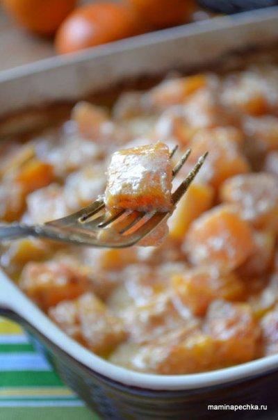 Тыква, запечённая со сливками и сыром