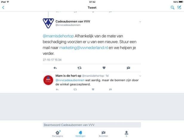 Uiterst vriendelijke mail van VVV Nederland over VVV-cadeaubon