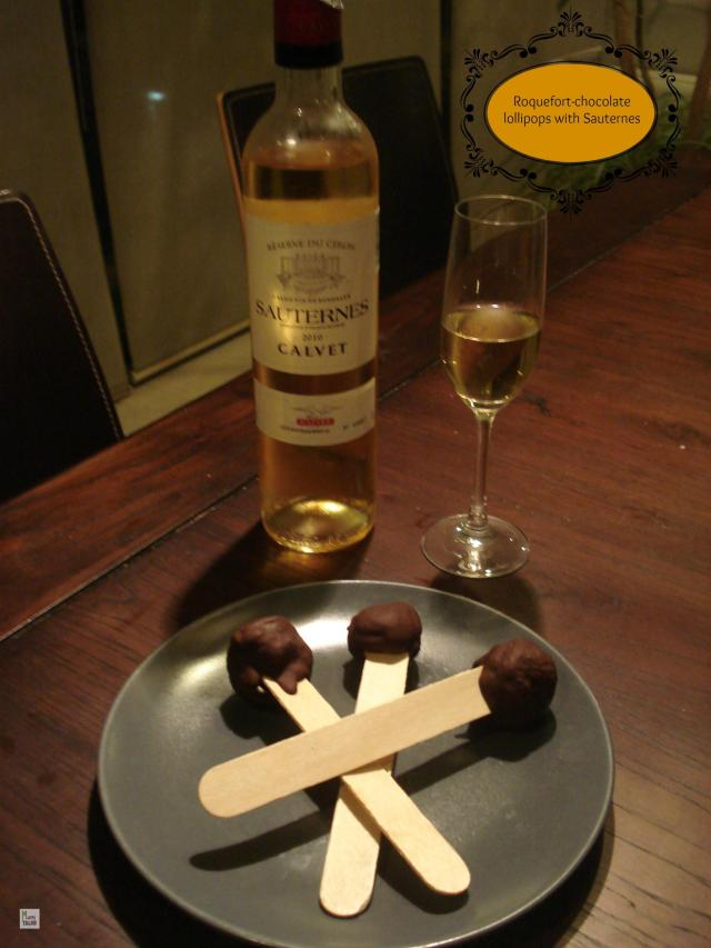 Roquefort-chocolate lollipops with Sauternes