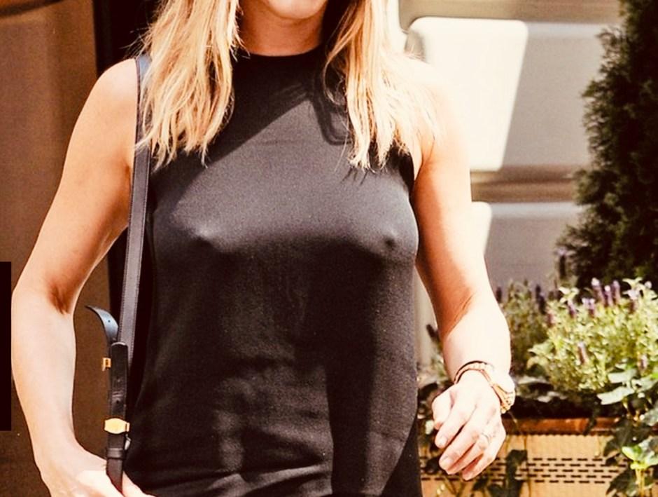 Oberkörper von Jennifer Aniston, man sieht sie ist #braves, also ohn BH