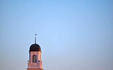The MHS steeple at sunset