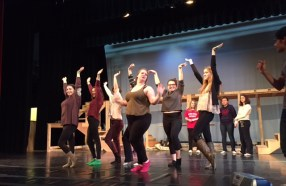 Students in rehearsal for MHS' 2015-16 school-wide musical, Anything Goes