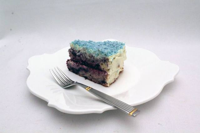 Blueberry cake slice