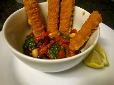 fish fingers with tuscan style vegetables