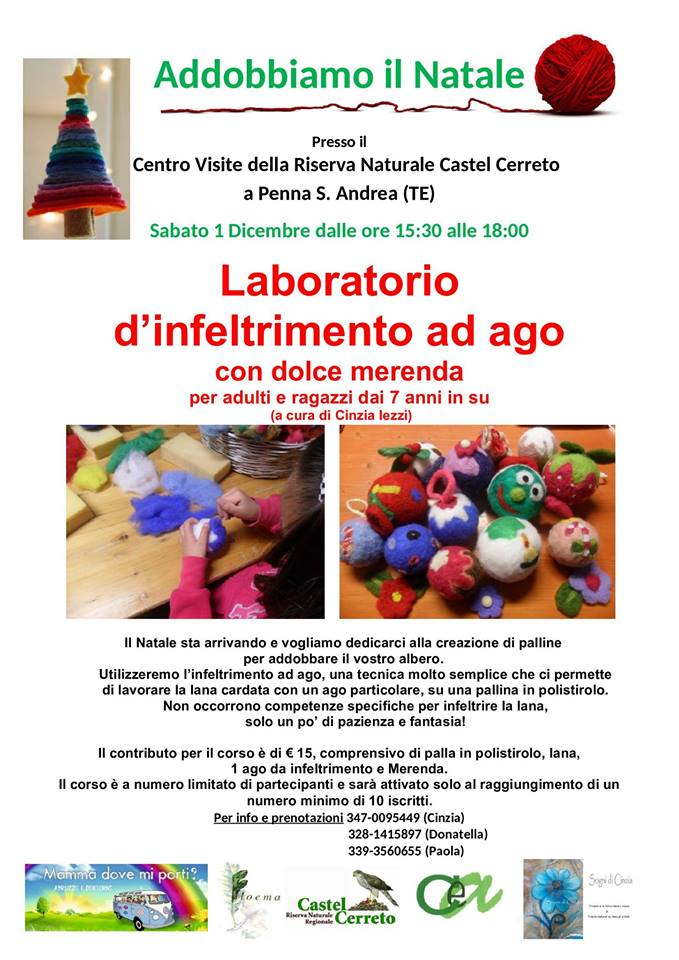 Laboratorio infeltrimento ad ago - Riserva Naturale Castel Cerreto Penna Sant'Andrea- Eventi per bambini Teramo
