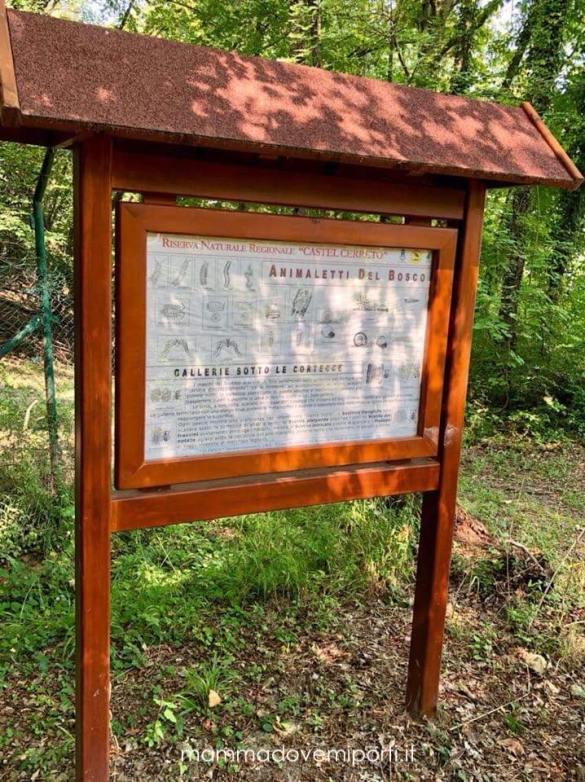 Pannello informativo della Riserva Naturale Castel Cerreto
