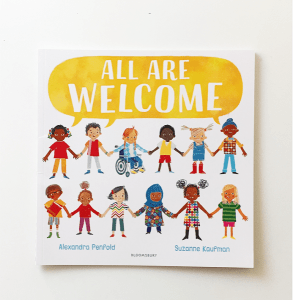 All Are Welcome book cover featuring diverse characters.