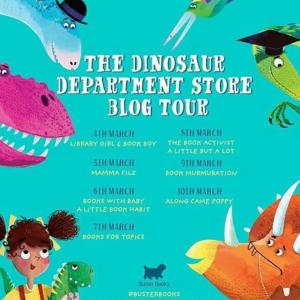 blog tour poster for Dinosaur Department Store.