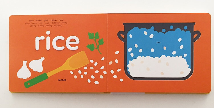 extract from food board book showing a pot of rice with raised letters.