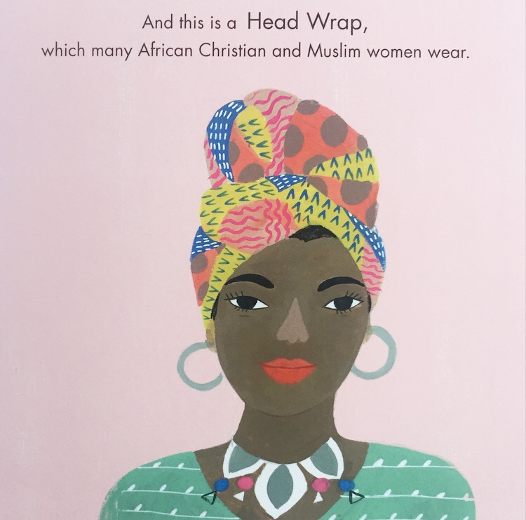Page from Hats of Faith book showing head wrap worn.