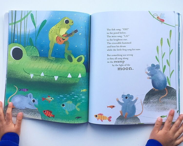 Exctract from In the swamp by the light of the moon showing different animals getting on.