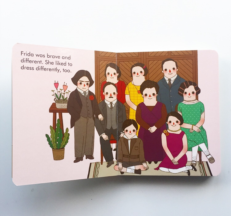Extract from Frida Kahlo board book sharing family portrait