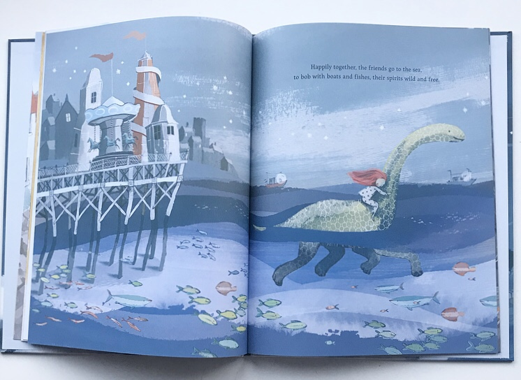 Inside of The Girl and the dinosaur picture book review on MammaFilz.com