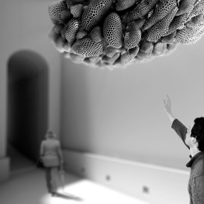 Overcast - Guan Lee, Mamou-Mani - 3D Printed Cloudlets Ceiling Installation - Day View of Installation at the V&A Museum