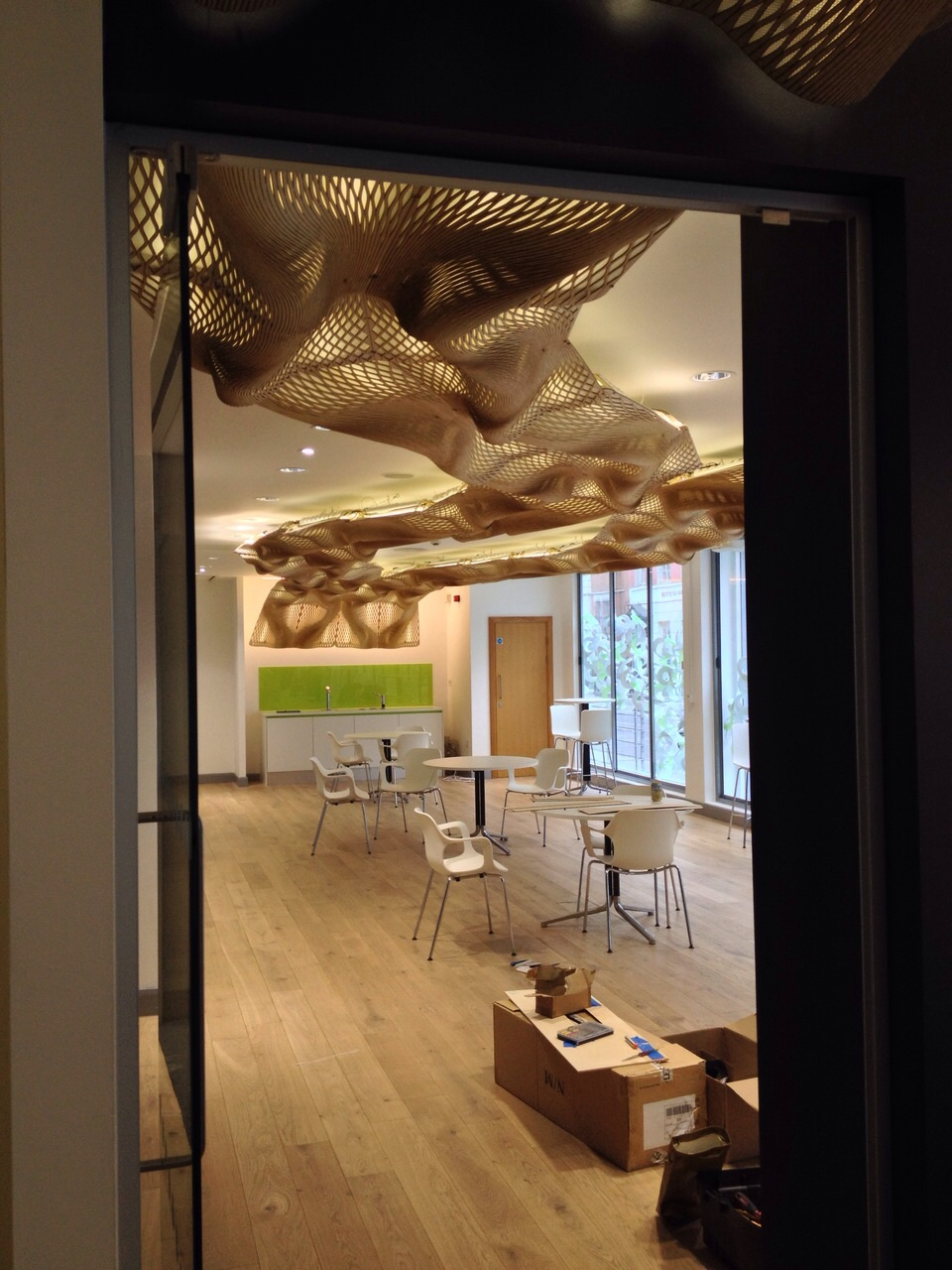 The Wooden Waves - Buro Happold - The ceiling Installation at 71 Newman Street - Picture by Dr. Bilal Mian ©Mamou-Mani