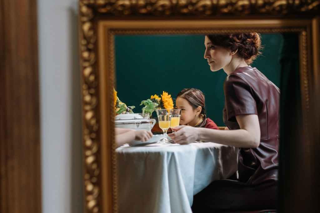 plate woman girl dinner