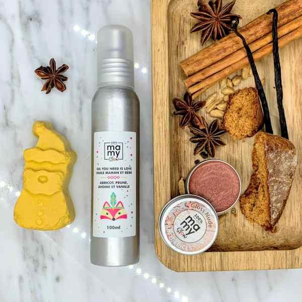gloss nude pailleté au pain d'epices naturel vegan sans palme