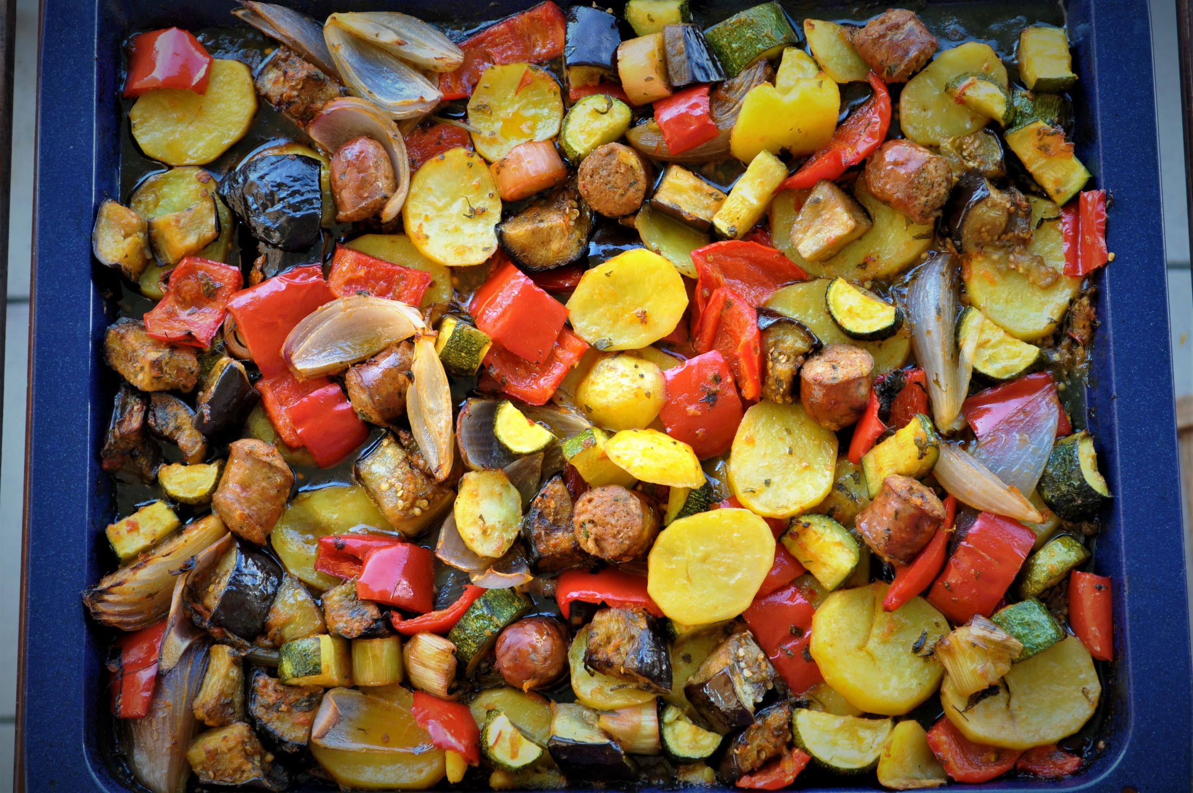 "Greek ""Briam"" traditional veggie traybake with sausage"