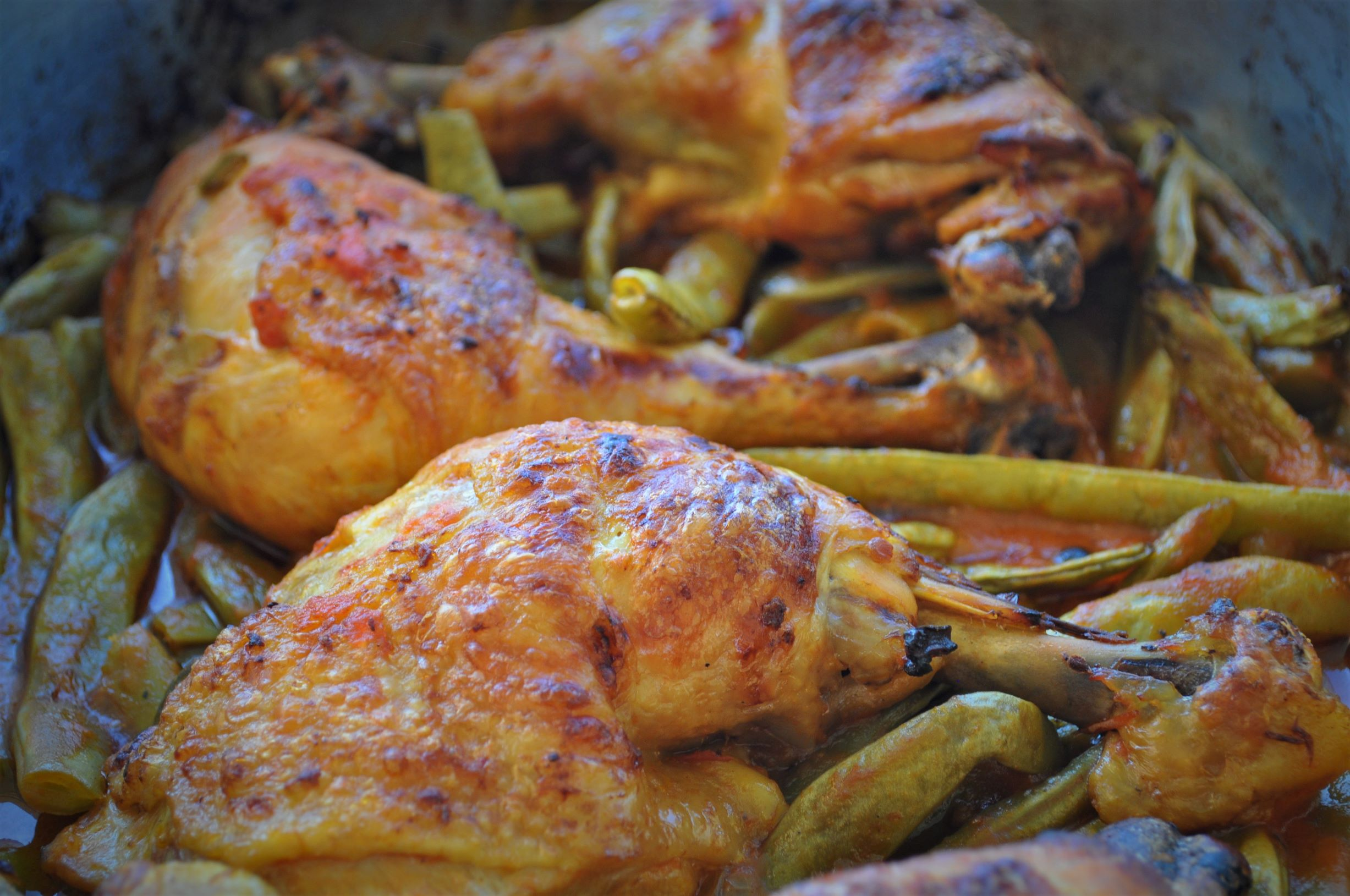 Free-range chicken with runner beans