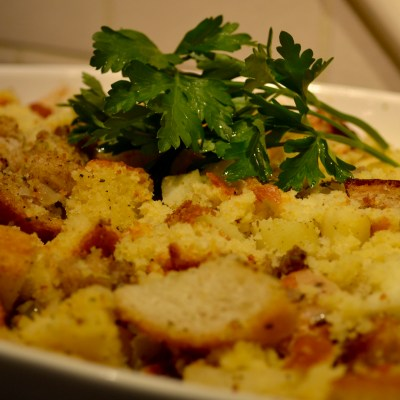 Holiday Cornbread Apple Sausage Stuffing (Caroline's Favorite)