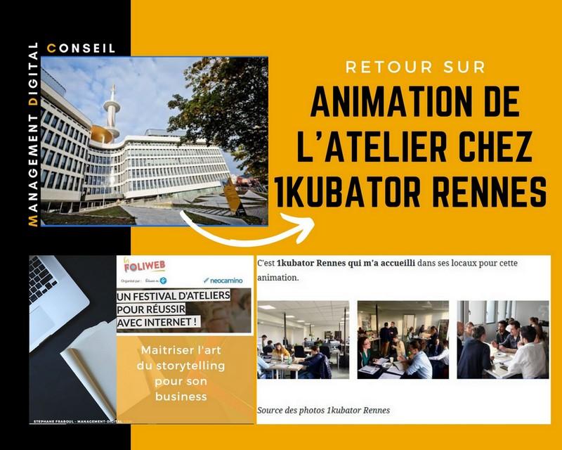 Animation de l'atelier chez 1kubator Rennes : Storytelling