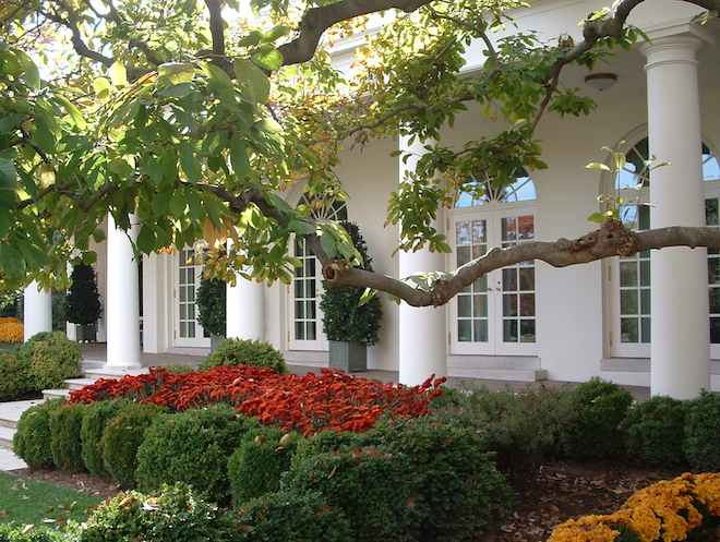 photo of White House Rose Garden with Oval Office in the background