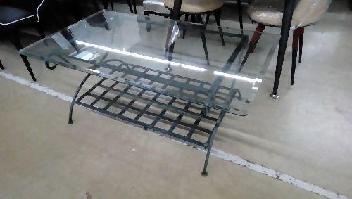 table basse fer forge et vitre occasion