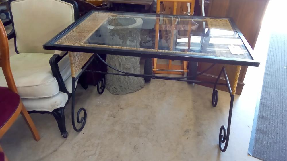 table fer forge rotin verre occasion
