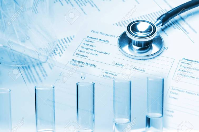 double exposure of stethoscope, test tube, beaker and patient information form on desk, healthcare, medical research diagnosis, medical report record and history patient concept, blue color tone
