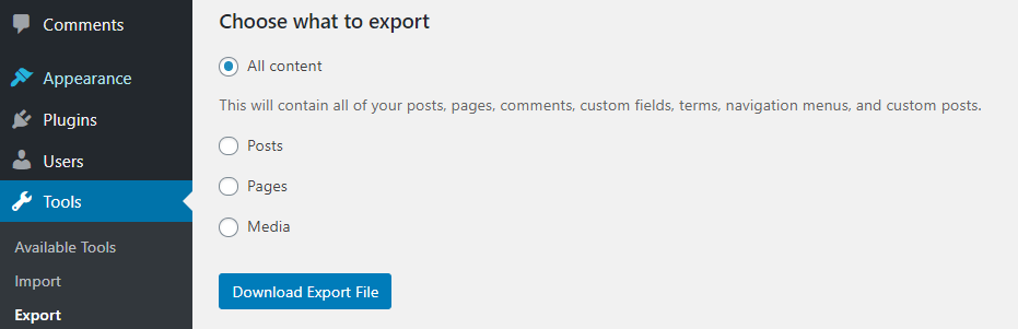 Exporting all your WordPress content.