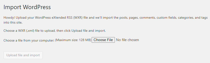 Importing content from an .xml file into WordPress.