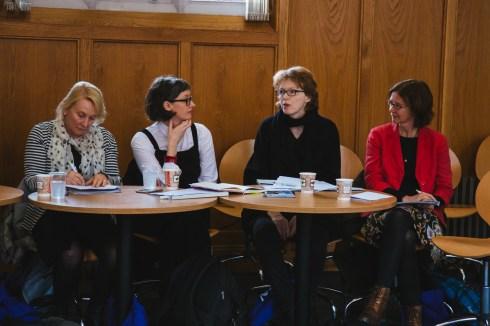 Jo Caust, Ali Fitzgibbon, Rosemary Jenkinson, and Maruska Svasek chat before the start of the seminar