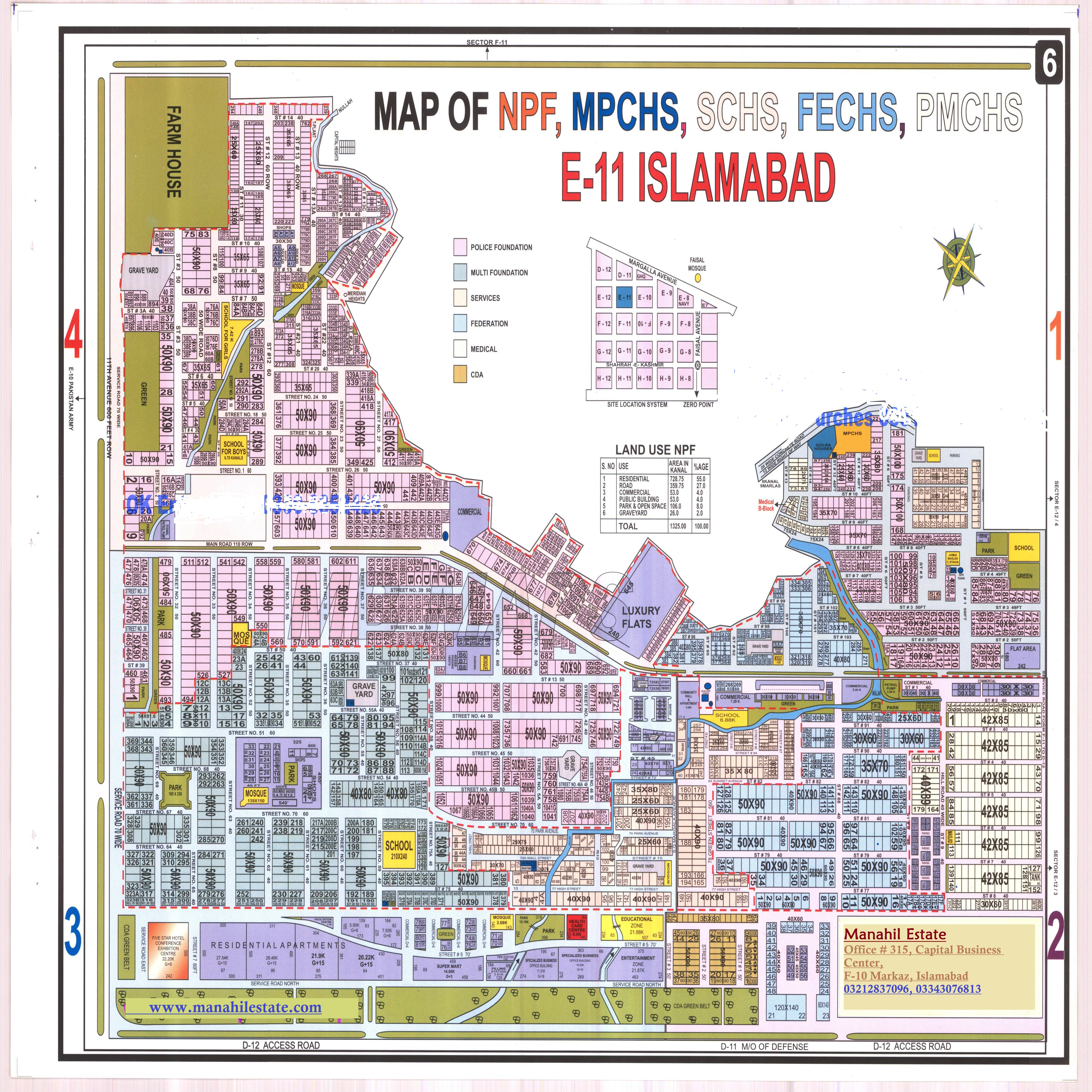 Layout Maps of Islamabad Sectors and Societies - Manahil Estate on